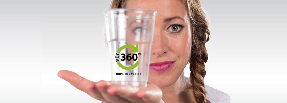 Gläser 100 % recyceltem PET-Abfall